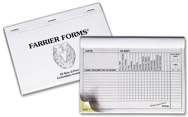 Farrier Carbonless Invoice Pad Horseshoer Blacksmith Hoofcare Receipt Book